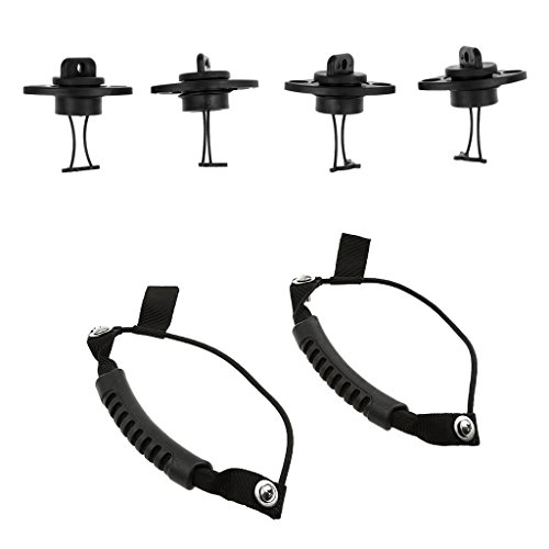 MagiDeal 2 Pieces Universal Kayak Carry Handle & Cord + 4 Pieces Kayak Canoe Dinghy Boat Hull Drain Plug Bung Accessories -  STK0119378406
