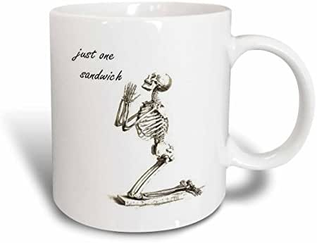 3dRose Just One Sandwich Skeleton, Weight Loss Humour, Ceramic Mug, 11-Oz