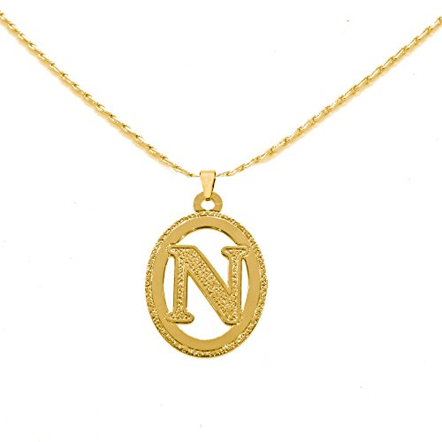 Beautiful Initial Oval Pendant Necklace 24k Gold Plated Personalized Charm Choose Your Letter (N) 24k Oval Pendant