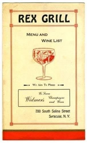 (Rex Grill Restaurant Menu South Salina Street in Syracuse New York 1930's)