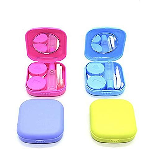 WEFOO Set of 4 Mini Travel Contact Lens Case Kit Holder Mirror Box, Blue, Purple, Green, Rose -