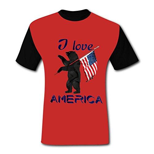 O-Neck Polyester Fiber Sport Short Sleeve Top T-Shirt for Men,Print I Love Ameria XXL ()