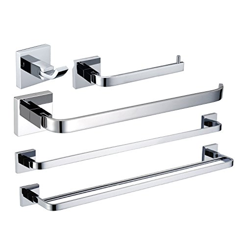 Lightinthebox Wall Mount Solid Brass Chrome Bathroom Accessory Sets, 5-piece Bath Collection Set Double Towel Bars Robe Hooks Towel Shelf Towel Holder Bath Shower Set Kitchen Towel Racks by LightInTheBox