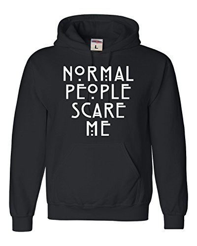 Go All Out Screenprinting Medium Black Adult Normal People Scare Me Sweatshirt Hoodie (People Sweatshirt Mens Hoodie)