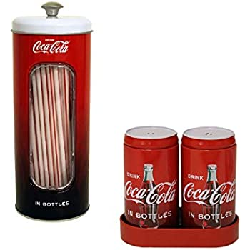 Coca-Cola Collectible Tin Straw Dispenser Holder Storage And 50 Straws Kid Party