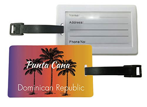 Punta Cana Dominican Republic Palm Tree Surfing Trendy Souvenir Travel Luggage Tag 2-Pack