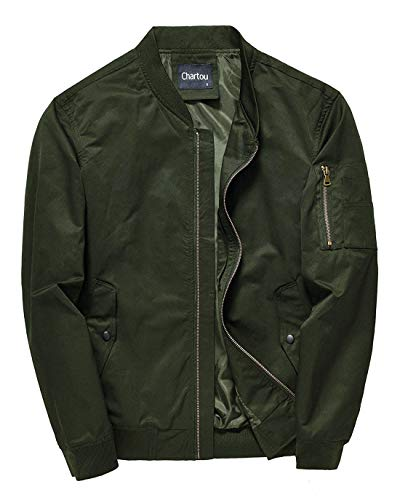 Chartou Men's Mid-Weight Flight Air Force Bomber Letterman Jacket Tactical Outwear (Medium, Army Green)