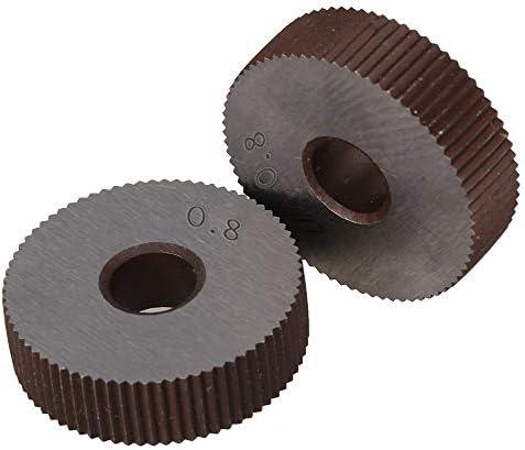 NO LOGO Rändelwerkzeug 2ST Stärke 0.8mm Rad Knurl Wälzfräser Straight Grain HSS Rad Knurled Werkzeugmaschinen Zubehör Dreh Prägeradabschnitt Hebt