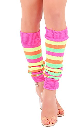 Striped 80s Leg Warmers for Women