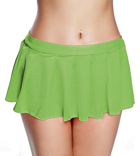 RIKKI Women's Sexy Pleated Miniskirts Ruffle Skirt (One Size, Lime)