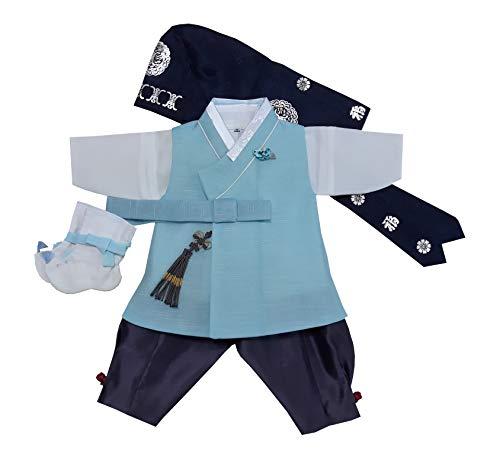 100 Day Birth Korea Baby Boy Hanbok Traditional Dress Outfits Celebration Party Light Blue Set -