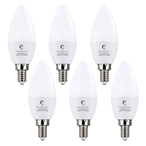 (6 Pack) Sailstar 6W LED Candelabra Bulb, Soft White 2700K LED Candle Light Bulbs, 40-60 Watt Fan Bulbs Equivalent, E12 Candelabra Base, 600 Lumen Torpedo Shape B11 LED Light