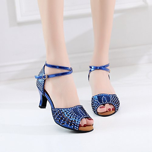 Heel Out Ladies Dancing Low Sandals Blue Cut Heel Sparkling Minitoo 6cm Synthetic SHEPqwxd