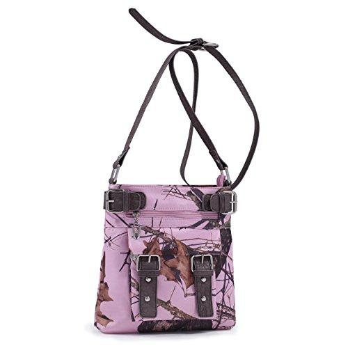 Emperia Damen Lydia Mossy Oak Dual Schnallen Umhängetasche Pink Camouflage/Dark Brown Trim