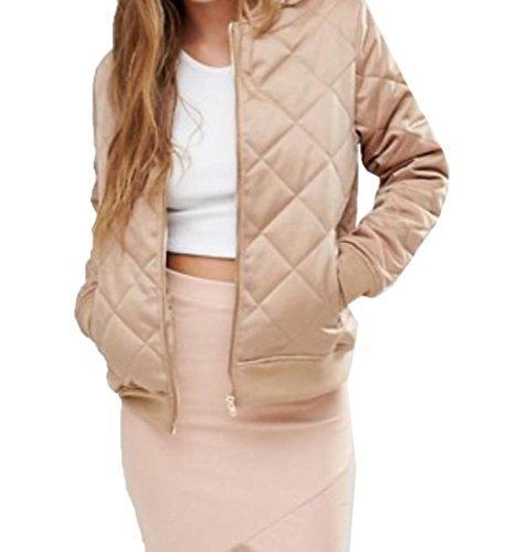 Goocyber Women's Elegant Quilted Soft Stand Collar Solid Petite Coat Jacket Tops