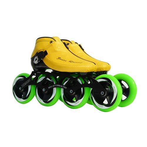 なしで司法明らかにailj スピードスケートシューズ90MM-110MM調整可能なインラインスケート、ストレートスケートシューズ(3色) (色 : イエロー いえろ゜, サイズ さいず : EU 41/US 8/UK 7/JP 25.5cm)