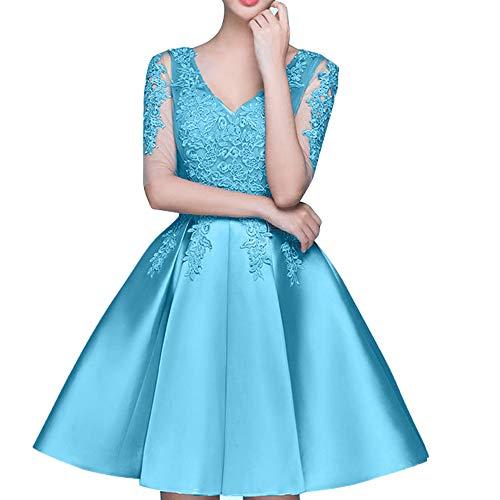 Spitze La Rock Braut Mini Marie Tanzenkleider Einfach Abendkleider Partykleider Blau Cocktailkleider tArAqx