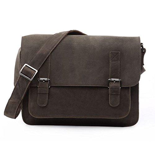 Clean Vintage Leather Handbag Messenger Cross-Body Bag Purse Men Women (Clean Cowhide Leather)