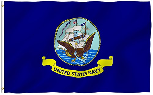 Navy Naval Brass - ANLEY [Fly Breeze] 3x5 Foot US Navy Flag - Vivid Color and UV Fade Resistant - Canvas Header and Double Stitched - USA Naval Military Polyester Flags with Brass Grommets 3 X 5 Ft