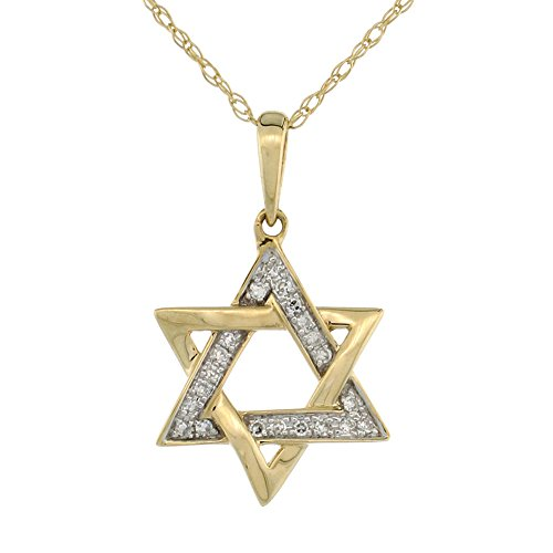 Dainty 14k Yellow Gold Diamond Star of David Necklace for Women 1/2 Inch wide with 18 inch Thin Chain -  Silver City Jewelry, Y4PLJ3666