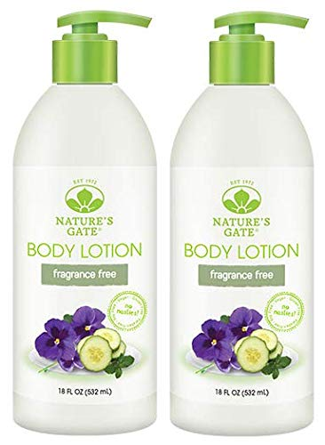 Natures Gate Fragrance - Nature's Gate Fragrance Free Lotion (Pack of 2) With Shea Butter, Sunflower Seed Oil and Sweet Almond Oil, 18 fl. oz. Each