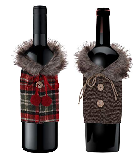 Pack of 2 Faux Fur Christmas Wine Bottle Covers Wine Bottle Dress Ugly Sweater Christmas Party Decorations