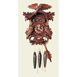 Original One Day Movement Cuckoo Clock with Double Door, Music and Owl 11.5 Inch