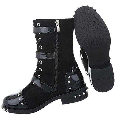 Damen Boots Schuhe Schnür Schwarz Stiefeletten zPxqzw0Crn