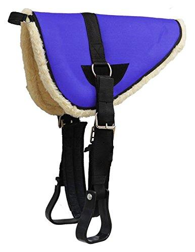 Showman Youth Pony Bareback Pad with Kodel Fleece Bottom with Stirrups and Girth (Blue)