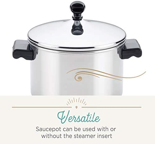 416jW4y2BnL. AC Farberware Classic Series Sauce Pot/Saucepot with Steamer Insert, 3 Quart, Silver    Sauce it, boil it, steam it, and simmer it with the versatile Farberware Classic Stack 'N' Steam Stainless Steel Saucepot and Steamer. From lobster pot to soup pot, this multipurpose cookware combo can be used with or without the steamer insert, and boasts a full cap base featuring a thick aluminum core surrounded by stainless steel for rapid, even heating on any stovetop, including induction. Heavy-duty stainless steel is polished to a mirror finish for a classic touch and the stacking steamer pot is dishwasher safe and oven safe to 350°F.