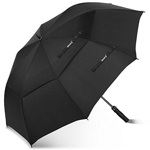 Wsky Golf Umbrella 68″ Large Oversize, Double Teflon Canopy Vented Superior Auto Open Windproof Umbrella, 8 Ribs Lightweight Reinforced Fiberglass Waterproof Umbrella for Men Women