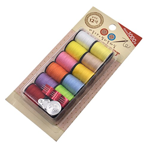 Qlychee Assorted 12 Colors Sewing Thread Thin Yarn Quilting Thread 12 Spools 20 Yards (Assorted Thread 12 Spools)