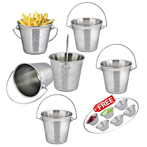 Mini Serving Bucket 7 x 7cm withFree 4 Sauce Cups 1.5oz Kosma Set of 4 Stainless Steel Fries Buckets Chips Bucket Snacks Bucket
