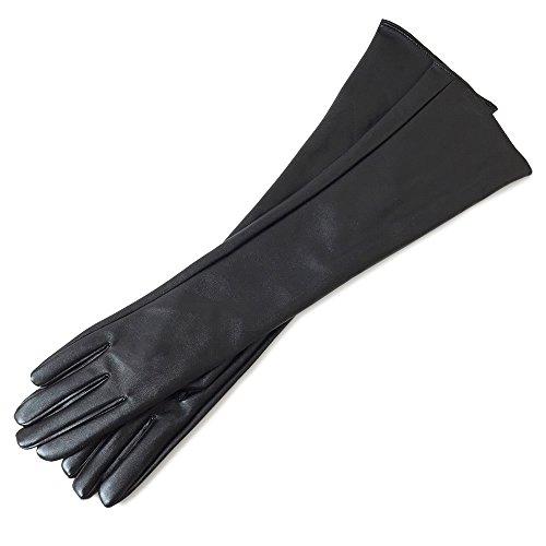 竜巻作曲する家畜フェイクレザー ロング グローブ 50cm丈手袋 合成皮革 手袋 黒 ブラック