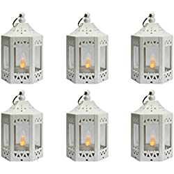 6pc Mini White Candle Lanterns with Flickering LED Tea Light Candle, Batteries Included