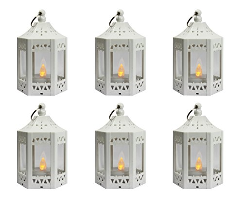 6pc Mini White Candle Lanterns with Flickering LED Tea Light Candle, Batteries Included -