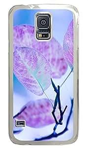 Samsung S5 case carry Purple Leaves Cute PC Transparent Custom Samsung Galaxy S5 Case Cover