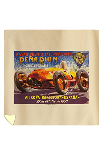 X Grab Premio Internacional Pena Rhin Vintage Poster (artist: Garcia) Spain c. 1950 (88x88 Queen Microfiber Duvet Cover) by Lantern Press