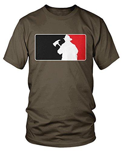 Amdesco Men's Firefighter Silhouette Emblem, Fire Fighter T-Shirt, Dark Chocolate Large -