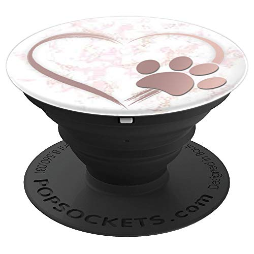 Paw Print Collapsible - Rose Gold Dog Paw Print Heart Pop Socket Marble Gray Pink - PopSockets Grip and Stand for Phones and Tablets
