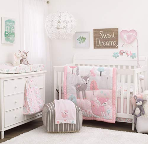NoJo Sweet Forest Friends - Pink, Aqua, Grey & White 100% Cotton Fitted Crib Sheet, Pink, Aqua, Grey, White