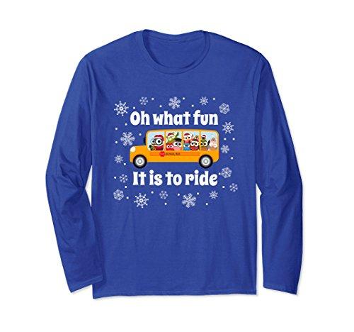 Unisex Christmas Holiday Winter Bus Driver School Bus T Shirt Medium Royal ()
