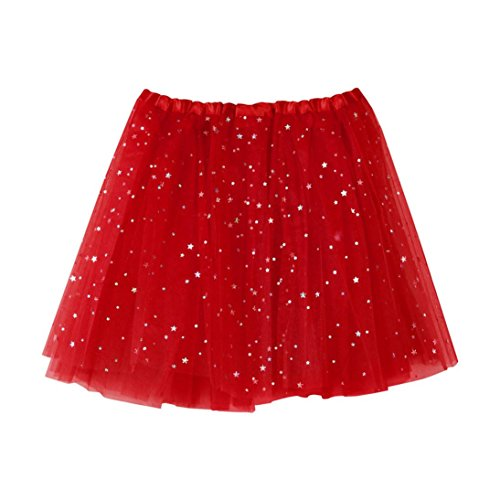 WM & MW Clearance Womens Pleated Gauze Short Mini Skirt Star Tutu Ballet Dancing Skirt Party Skirt (One Size, Red) (Big Star Mini Skirt)