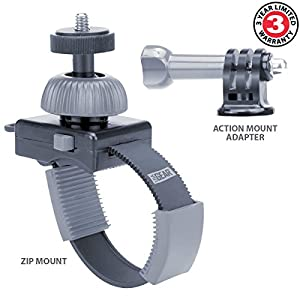 USA Gear Zip-Tie Strap Mount with Adjustable Strap and 360 Degree Rotating Head for Action or Tripod Screw Mounts - Works With Polaroid XS100 , Sunco DREAM2 , Ricoh Theta & More by USA Gear