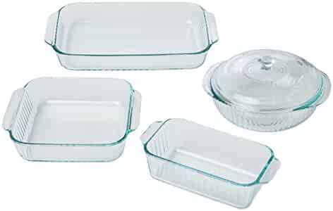 Pyrex 5 Piece Sculpted Bakeware Set, Clear