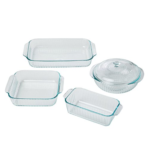 Pyrex 5 Piece Sculpted Bakeware Set, Clear