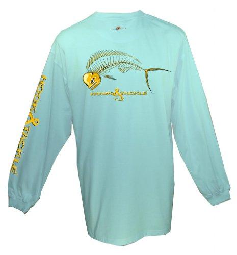 Hook & Tackle Bull Dolphin X-Ray Solar System Long Sleeve Shirt - Aqua - Medium
