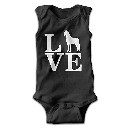 Fillmore-M Newborn Babys Boy's & Girl's Love Horses Sleeveless Baby Climbing Clothes For 0-24 Months Black Size 3M
