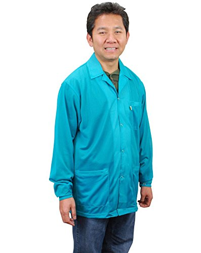 Teal X-Large DESCO 73844 Polyester Smock Statshield Jacket with Snaps 31 Length