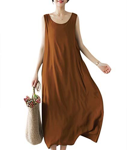 (YESNO Girls Casual Flowy Tank Dresses Loose Summer Beach Sun Dress EHG (L, EHG Brown))
